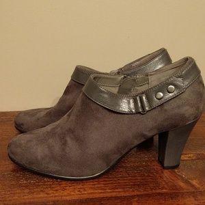 Gray suede bootie,  3 inch heel.